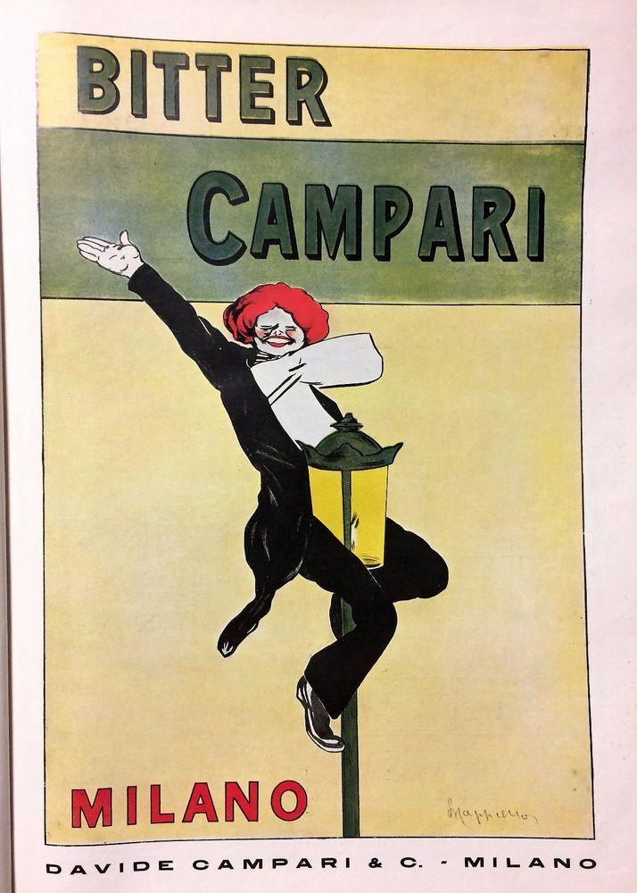PUBBLICITA' 1929 BITTER CAMPARI MILANO DRINK LEONETTO CAPPIELLO BAR FRACK 35X24