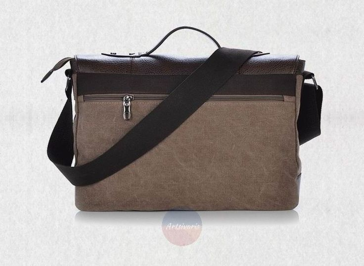 Artsivaris Men Canvas Leather Business Briefcase Travel Large Messenger Bag | eBay
