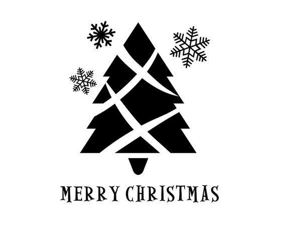 This Merry Christmas Vinyl Decal Measures 10 H X 9 6 W It Has A Simple Christmas Tree With Snowflak Christmas Wall Decal Christmas Vinyl Simple Christmas Tree