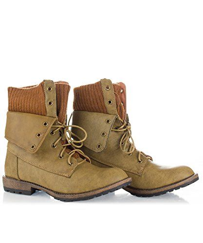 ROF Women's Mid-calf Lace-up Combat Military Folded Cuff Boots TAN PU (8.5) *** Read more  at the image link.