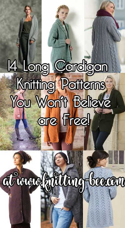 14 Long Cardigan Knitting Patterns You Won't Believe are Free! at http://www.knitting-bee.com/top-free-knitting-patterns/14-long-cardigan-knitting-patterns-wont-believe-free