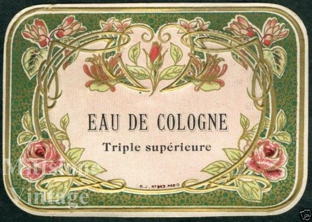 Letrero Baño Vintage:Vintage French Perfume Label