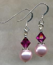 Fuchsia Swarovski Crystal & Pearl Earrings