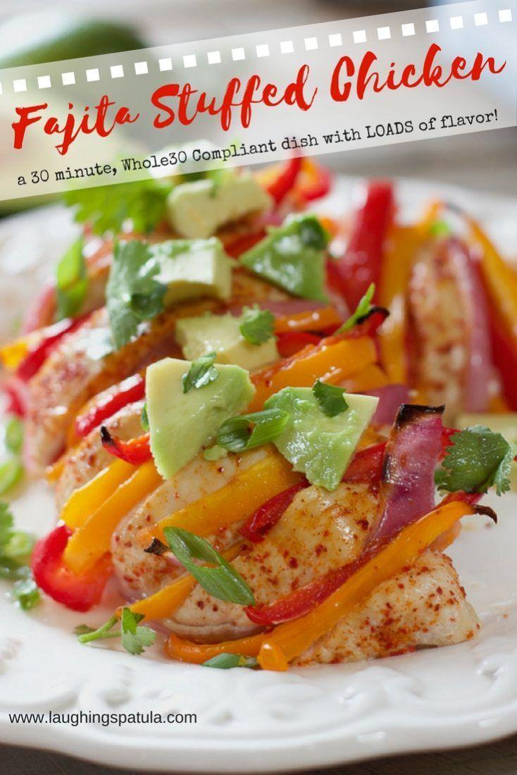 Fajita Stuffed Chicken- a 30 minute, Whole30 Compliant dish with LOADS of flavor | Laughing Spatula