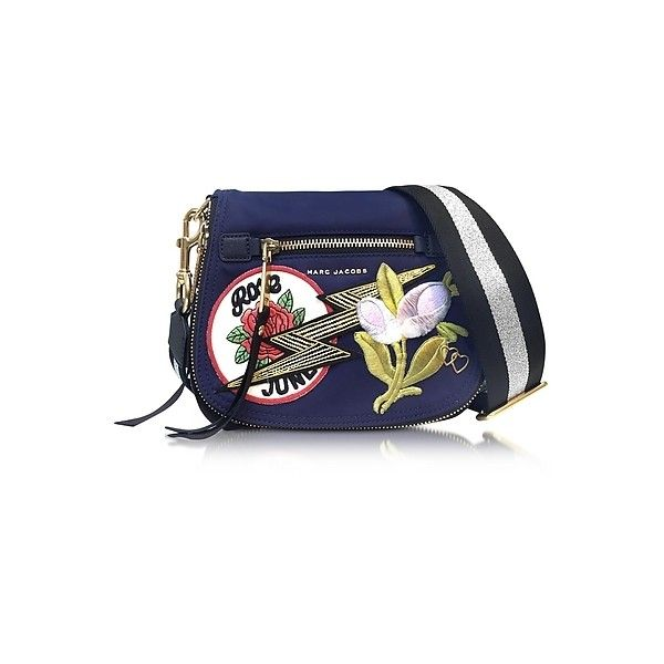 Marc Jacobs Handbags Navy Multi Nylon Patchwork Small Nomad (€405) ❤ liked on Polyvore featuring bags, handbags, shoulder bags, navy blue, blue shoulder bag, handbag purse, marc jacobs handbags, nylon shoulder bag and purse shoulder bag