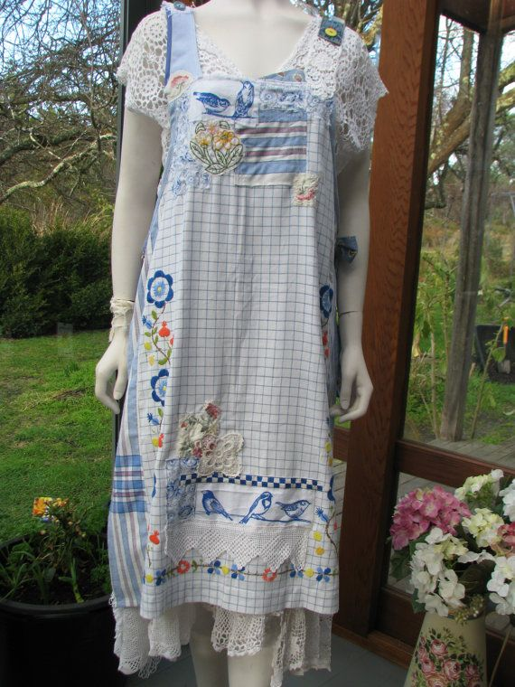 Apron Dress Birds Flowers Lace Altered Couture by vintacci on Etsy
