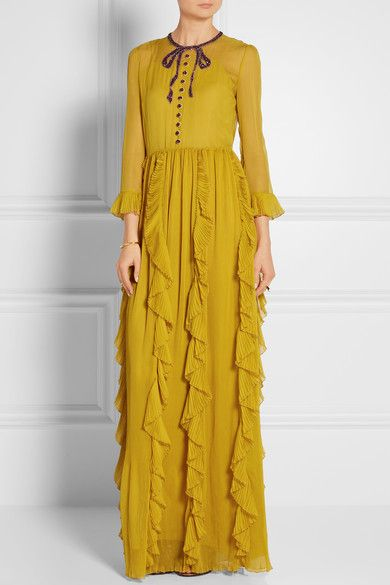 Mustard silk-chiffon Button and concealed hook and zip fastening at back 100%…