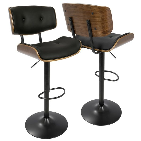 LumiSource Lombardi Walnut-finish Wood and Chrome Mid-century Modern Adjustable Barstool