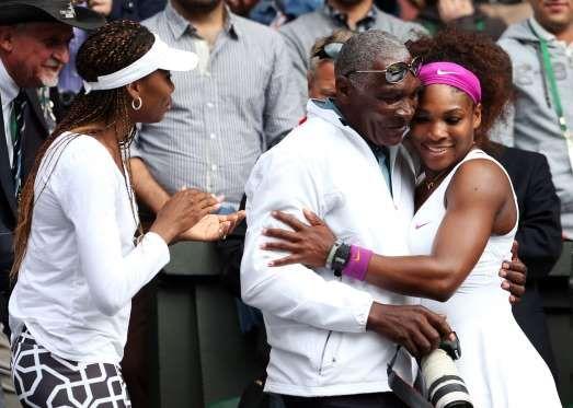 Venus and Serena Williams with dad Richard Williams.