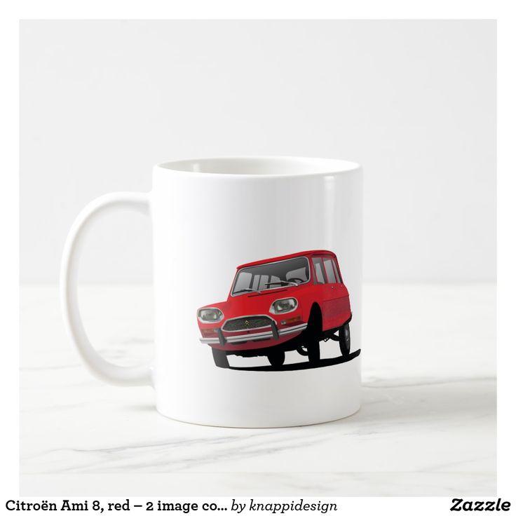 Citroën Ami 8, red – 2 image coffee mug. Plenty of different color options.  #cornering #citroen #citroenami8 #ami8 #automobile #cars #classiccars #60s #70s #coffeemug #mug #kaffemuggar #muggar #mukit #carillustration #illustration #automobiles #bil