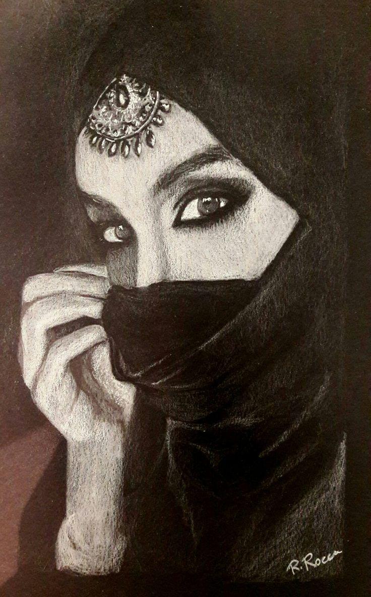 Donna indiana. Matita bianca su cartoncino nero