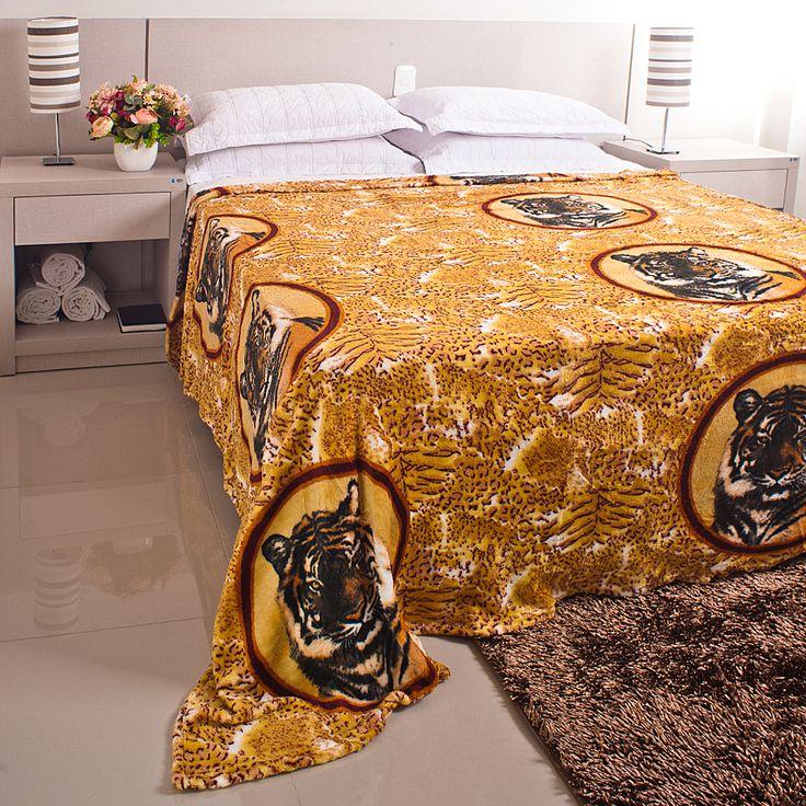 Cobertor / Manta Microfibra Maya Animal Print Amarelo Tigre - Casa Baher