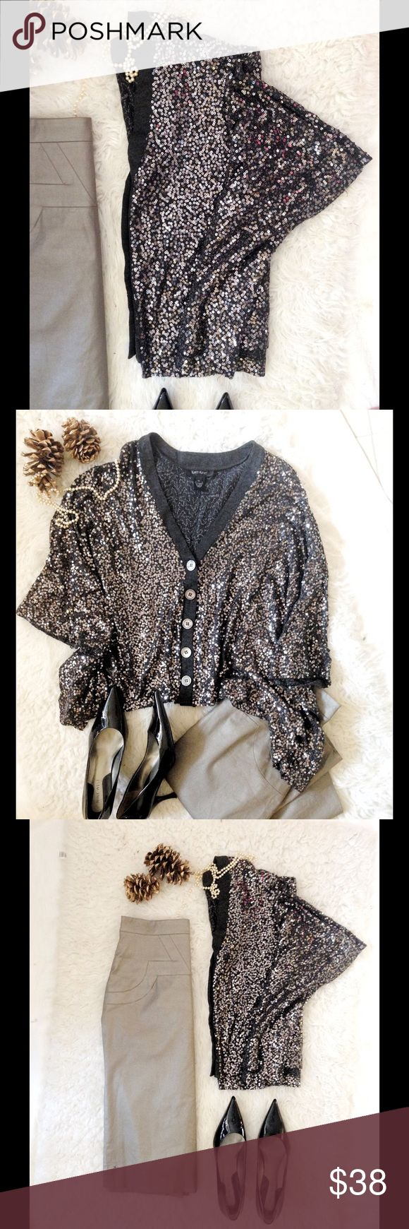Karen Kane Holiday Sequin Cardigan Batwing Beautiful generous cut Medium with shark bite hem. Large batwing sleeves, almost like a cape. Medium weight drapes beautifully. charcoal grey with silver sequins and genuine abalone shell buttons. 💕Excellent condition. Karen Kane Tops