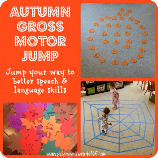 Autumn Gross Motor Jump-incorporating gross motor activities in speech therapy to enhance speech and language skills. From Playing with words 365. Pinned by SOS Inc. Resources @SOS Inc. Resources.