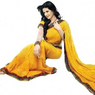 #Designer Suit #Bollywood Replica Saree Shop now : http://www.valehri.com/zarine-khan-yellow-georgette-with-border-saree-1587