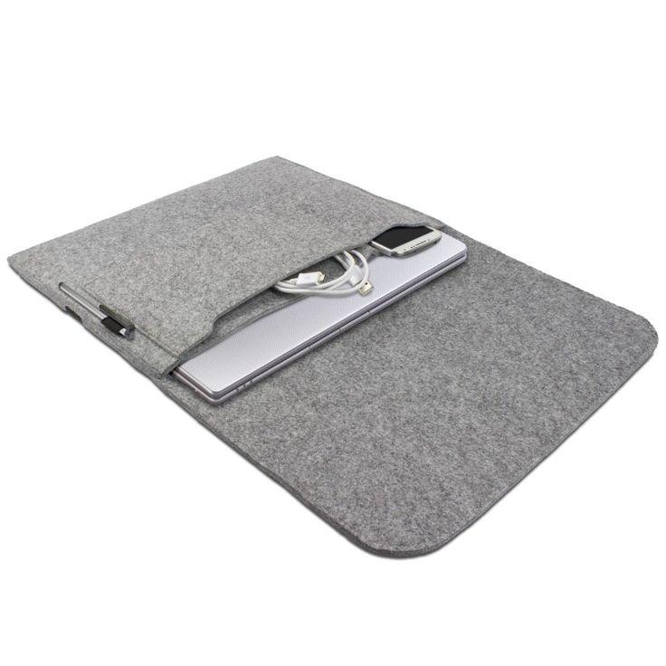 eFabrik Universal Tasche für Notebook 13,3 Zoll Schutz Hülle Ultrabook Laptop Case Soft Cover Schutzhülle Sleeve Filz hell grau