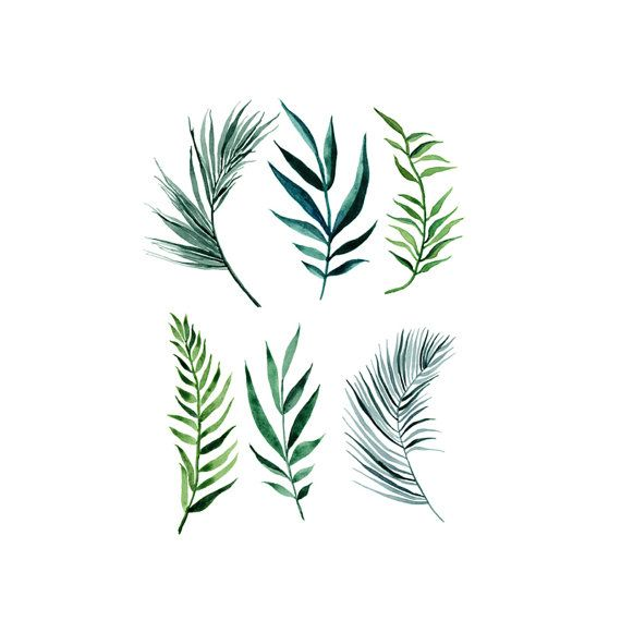 6 Palm Leaves Watercolor Temporary Tattoo wrist by ...