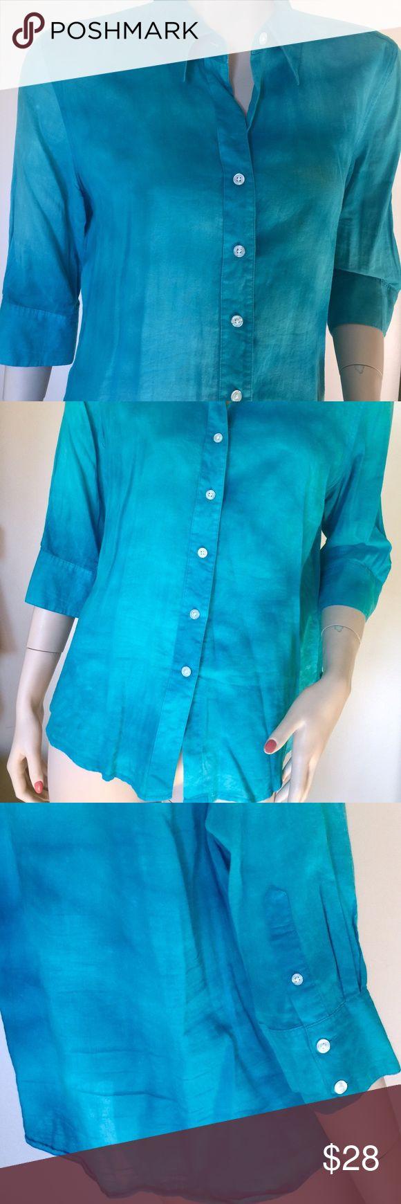 Blue Beach Dress Shirt Summer Cotton Top 💦🐠🏄 Blue Nautical Cotton Beach Shirt 🐠🌊💦🏄 Summer Vacation Women's Top Button Down Casual Pointed Collar Dress Shirt Tops Blouses
