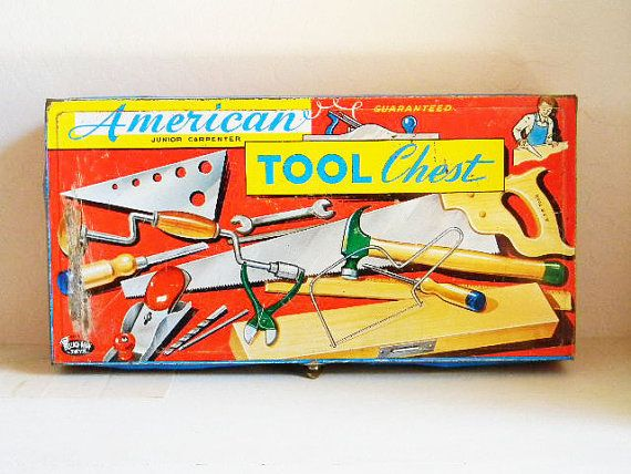 Vintage Toy TIN Tool Box Carpenters Chest Metal  by 1RustyRabbit