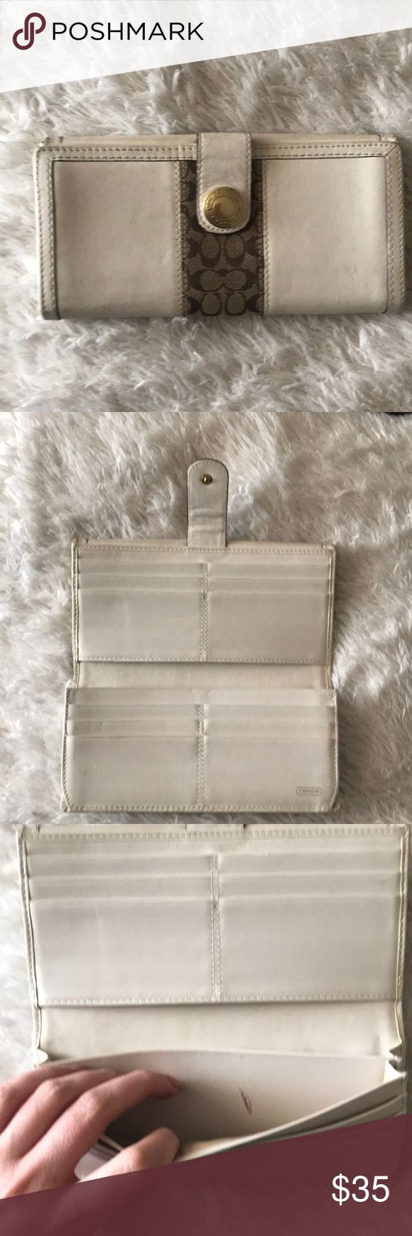 Coach leather wallet White leather. Needs cleaning. Nail polish mark on inside Coach Bags Wallets