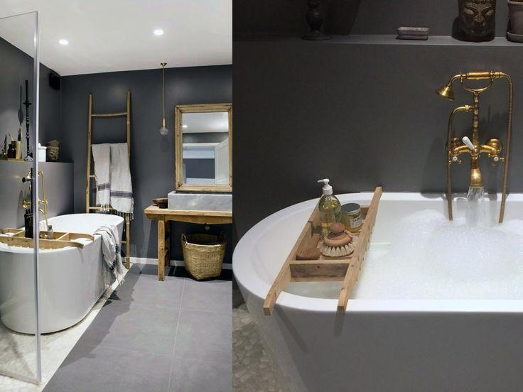 Lun stemning og ekte spa-følelse på baderommet til Marianne Haga Kinder fra @Inspirasjonsguiden. Fliser, badekar og vask fra #flisekompaniet.
