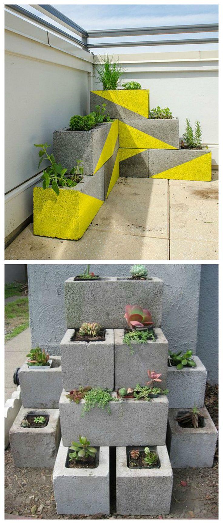 DIY Jardinera con bloques de hormigón.