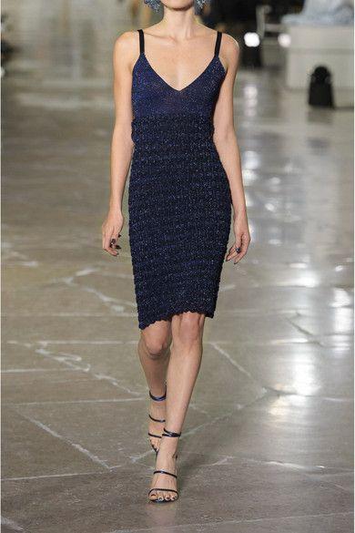 KENZO - Cutout Metallic Knitted Mini Dress - Midnight blue -