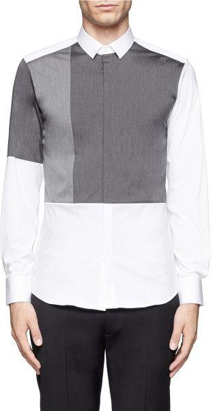 Neil Barrett Contrast Panel Stretch Cotton Shirt in White for Men (Multi-colour)