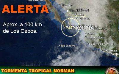 Tormenta tropical Norman: a 100 km. de Los Cabos
