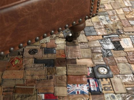 Branded rug is made entirely of leather labels from old jeans by Scandinavian design company Kings of Sweden