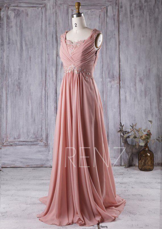 dd1b395904be7 Blush Lace Neck Bridesmaid Dress with Beading Long Pleated | Etsy. Party  Dress Blush Chiffon ...