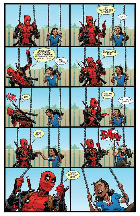 Oh my goodness, deadpool as a father? Scary thought, but totally hilarious!!