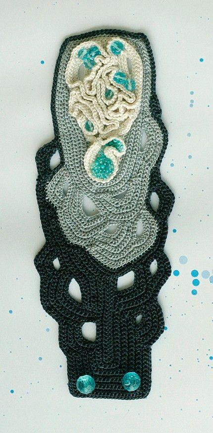 White and grey freeform cuff with aqua blue beads by ulani on Etsy