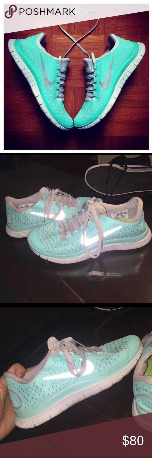 😍 NIKE FREE 3.0 Tiffany Blue 😍 limited edition Tiffany Blue Nike Free 3.0.. very comfortable, durable, and rare. next day shipping. comment any questions Nike Shoes Athletic Shoes