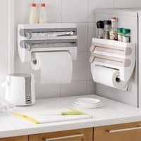 Specification: Product Name: Kitchen Cling Film/Paper Towel Holder Material: ABS Color: White / Khak