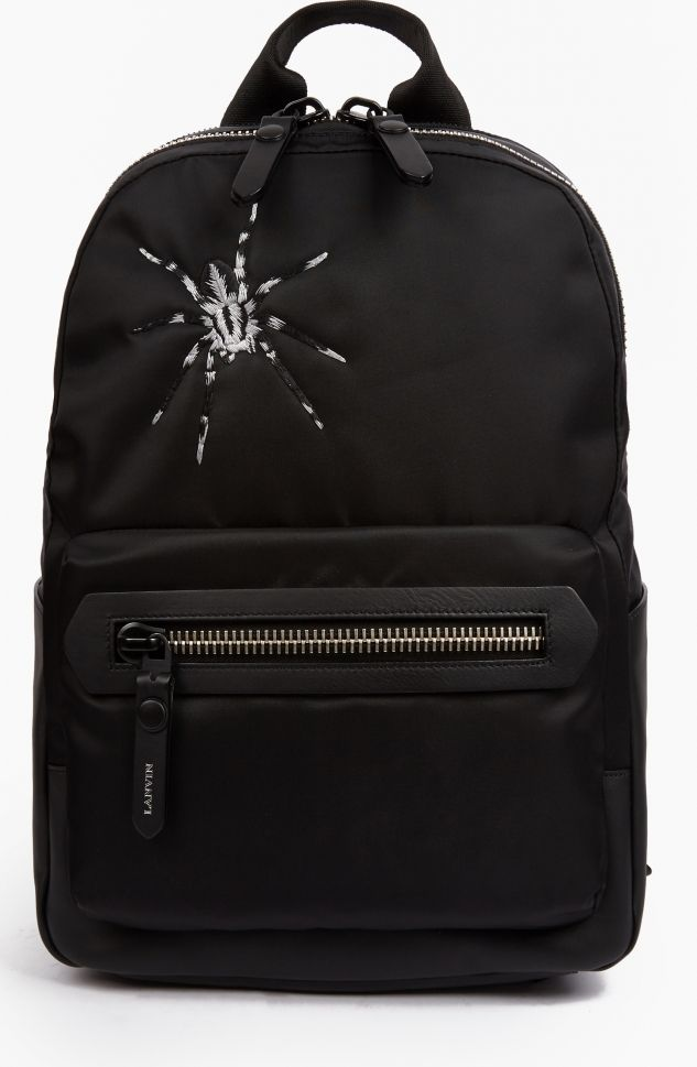 Lanvin Black Tarantula Motif Backpack The Lanvin Tarantula Motif Backpack, seen here in black. - - - This unique backpack from Lanvin is crafted from lightweight nylon and features an embroidered tarantula to the top left-hand corner. The http://www.comparestoreprices.co.uk/january-2017-6/lanvin-black-tarantula-motif-backpack.asp