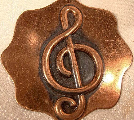 Treble Clef Music Copper Pendant on Chain by FionaKennyAntiques