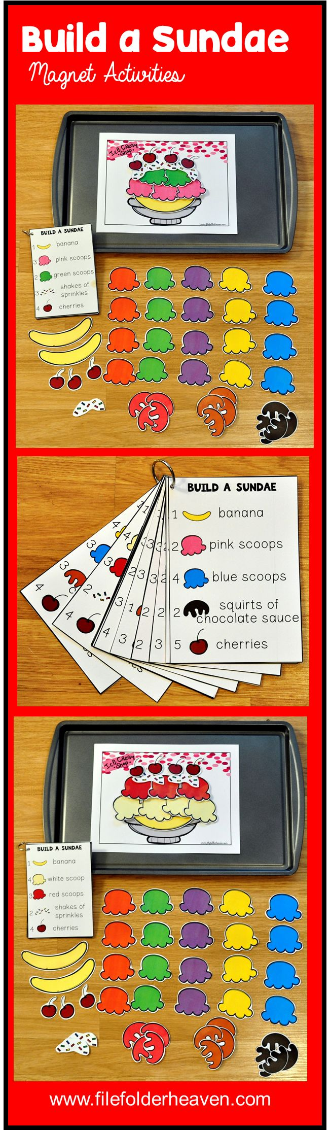 These Build a Sundae Center Activities can be set up as cookie sheet activities, a magnet center, or math center. This set includes 1 building mat, 14 build a sundae instruction cards, and lots of build a sundae building pieces (all in color).  In this activity, students watch the sundae pile up as they work on basic counting skills (numbers 1-5) and following directions.  Students will count out the correct number of bananas, scoops and toppings as indicated on the cards provided.