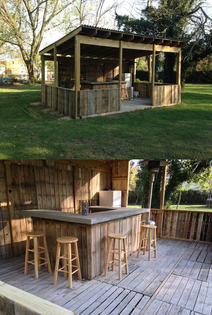 Outdoor bar shed with floor made of