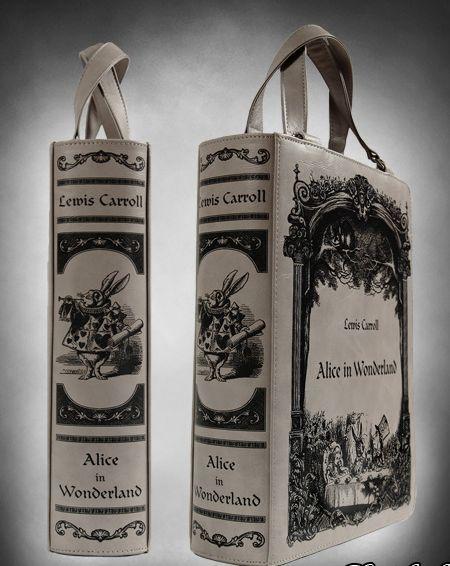 """Bolsa de LIBRO gris """"Alicia en el País de las Maravillas"""" bolso de Lolita gótico"""