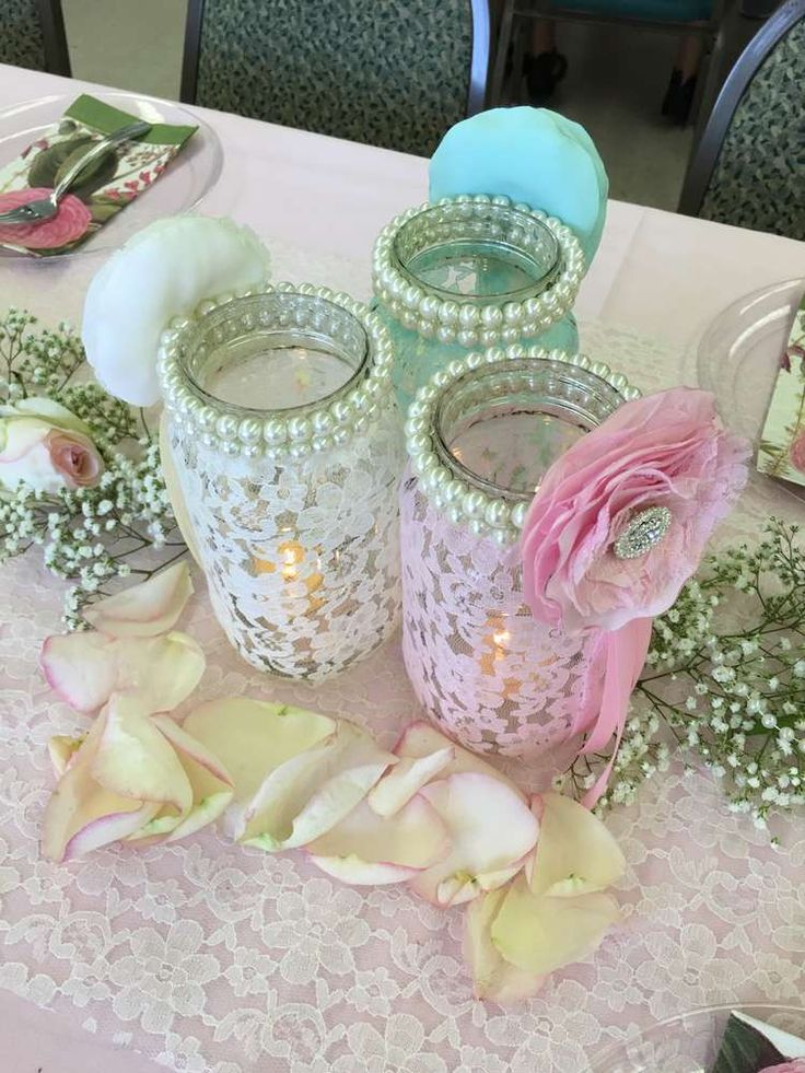 Dressed up mason jars at a shabby chic baby shower party! See more party planning ideas at CatchMyParty.com!