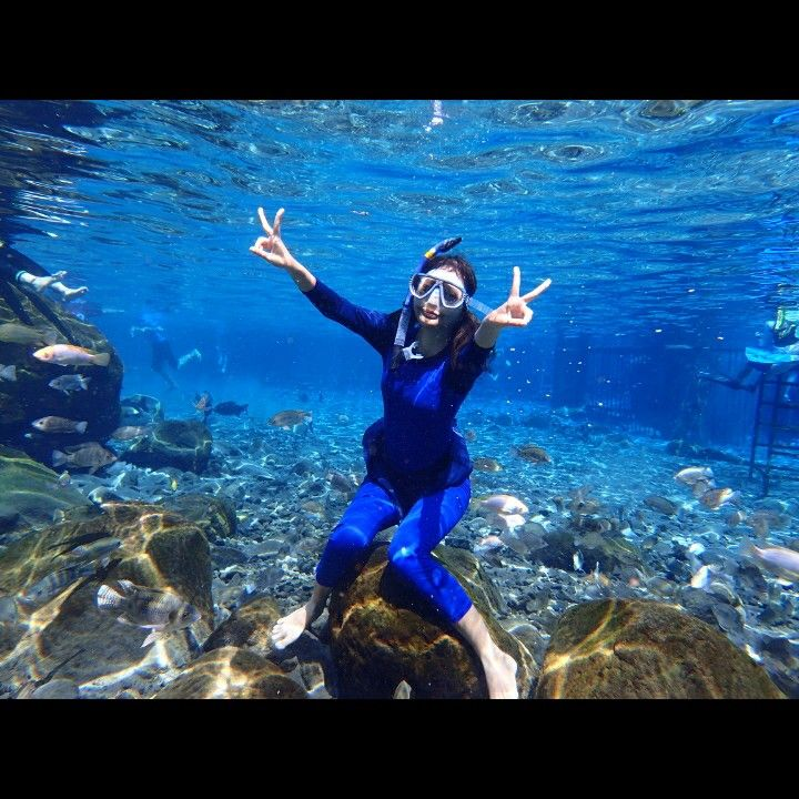diving in a beautiful place in Klaten, Indonesia.