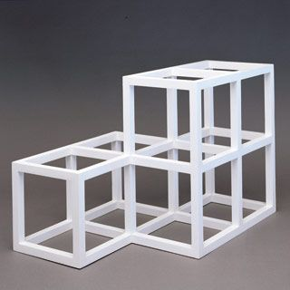 Sol LeWitt, Open Geometric Structure 2-2,1-1, 1991, painted wood, 20 x 29½ x 20 inches. © The LeWitt Collection, Chester, CT..