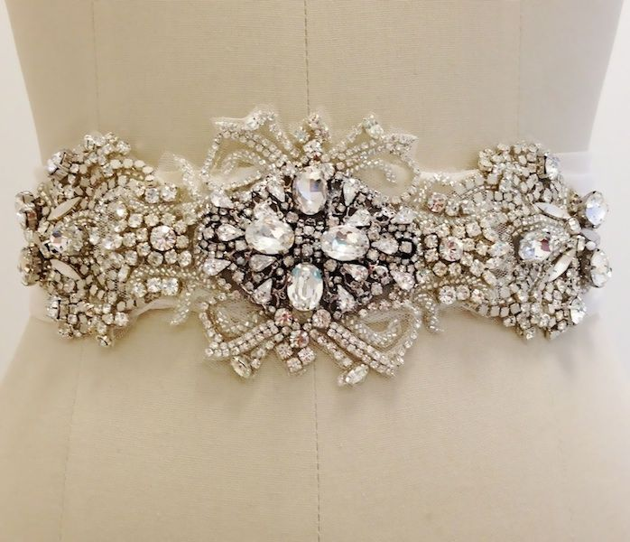 Erin Cole Bridal Belts, Sashes. Large ornate medallions create a stunning bridal belt or sash with swirls of crystals, moonstones & white opals.