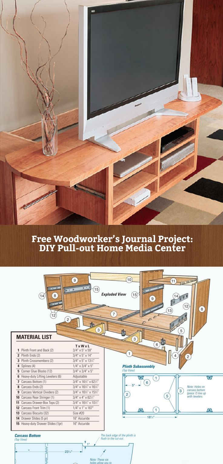 FREE DIY Home Media Center Project - with pull out top - from Woodworker's Journal : http://www.rockler.com/how-to/slide-out-media-center/