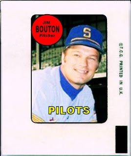 1969 Topps Decal Jim Bouton, Seattle Pilots, Baseball Cards That Never Were.