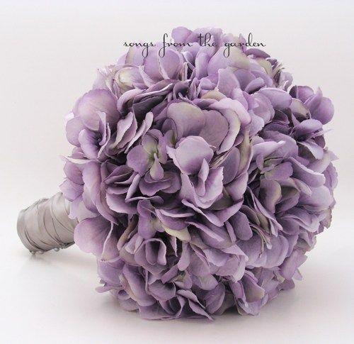 Wedding Bouquet Antique Lavender Silk Hydrangea Groom Boutonniere