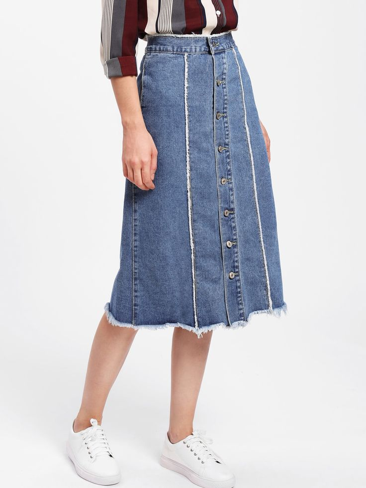 Shop Button Front Frayed Hem Denim Skirt online. SheIn offers Button Front Frayed Hem Denim Skirt & more to fit your fashionable needs.