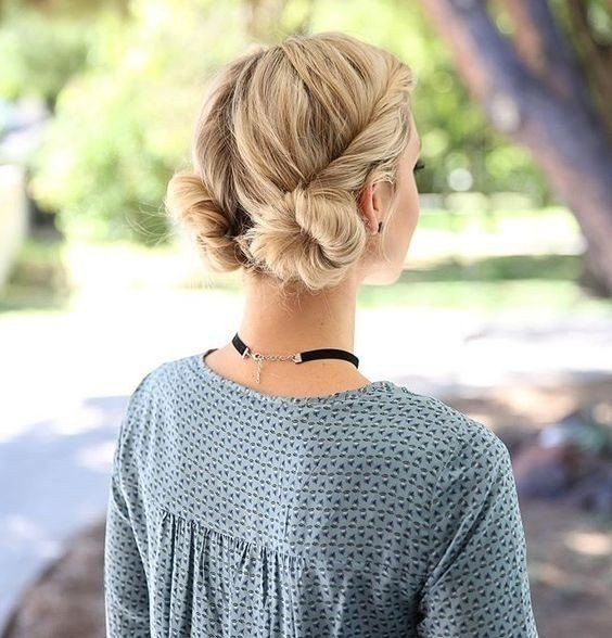 image of low knots braids for blond haircute braids