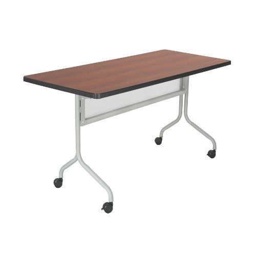 "Safco Products Impromptu Rectangle Mobile Training Table, 72 by 24-Inch, Cherry Top with Silver Base by Safco. $277.77. Top folds down easily for nesting and storage. For training sessions or conference meetings. 1"" Thick high pressure laminate top and durable vinyl edge band. Tables are 29"" high. 1 1/4"" Tubular steel base. Thrive on impulse. Impromptu Mobile Training Tables work together to create unique combinations for training sessions or conference meetings. All ta..."